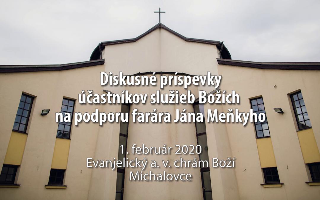Diskusia v rámci služieb Božích na podporu farára Jána Meňkyho